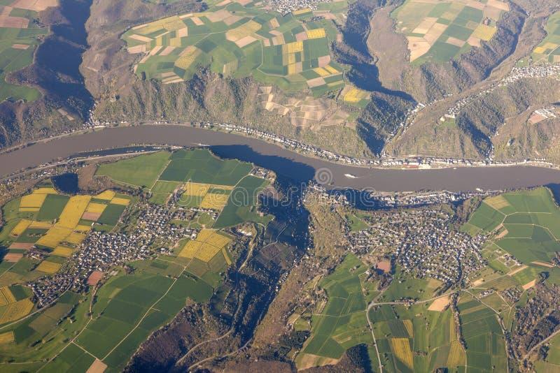 Vista aerea del Reno in Germania fotografia stock libera da diritti