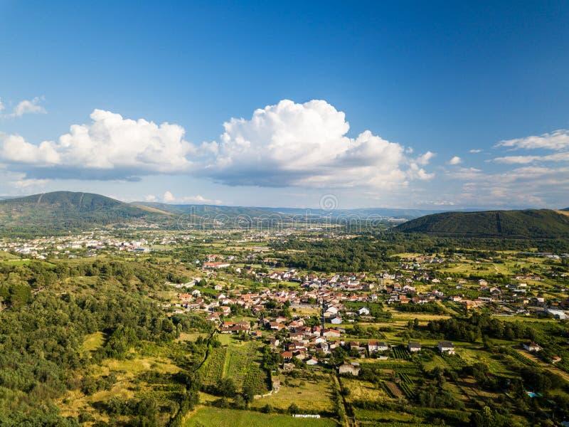 Vista aerea del Verin nella provincia di Ourense immagine stock libera da diritti