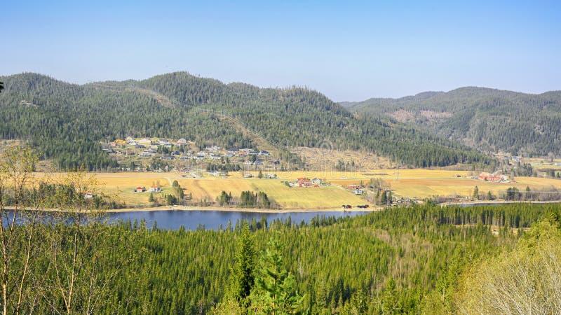 Vista aerea del villaggio Broettem, Norvegia fotografie stock libere da diritti
