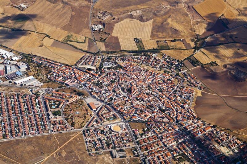 Vista aerea del villaggio rurale fotografia stock