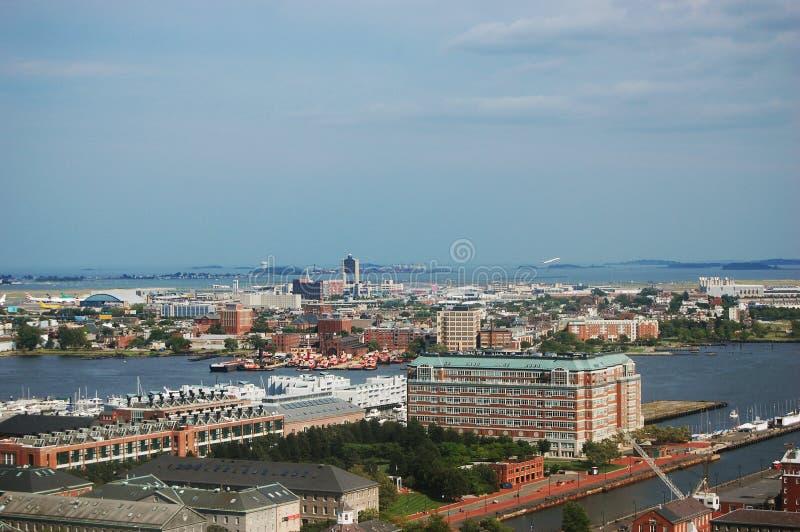 Vista aerea dell'aeroporto internazionale del Logan, Boston immagini stock libere da diritti