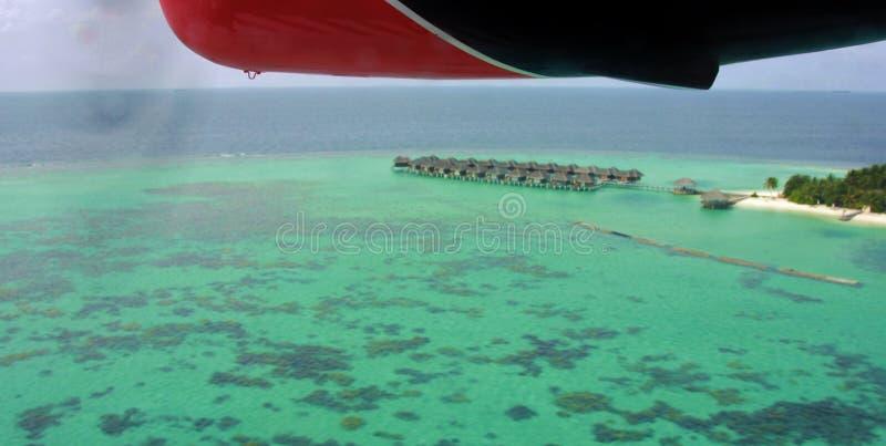 Vista aerea dell'atollo di Maafushivaru dall'idrovolante, Maldive fotografia stock libera da diritti