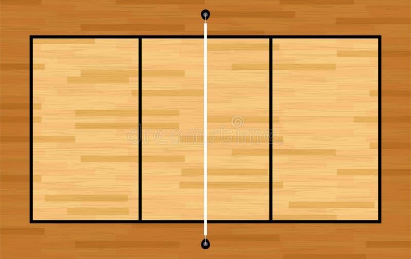 Vista aerea dell'illustrazione della corte di pallavolo del legno duro royalty illustrazione gratis