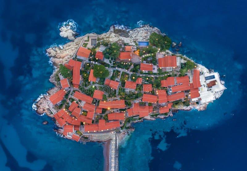 Vista aerea dell'isola Budua di Stefan di sveti fotografie stock