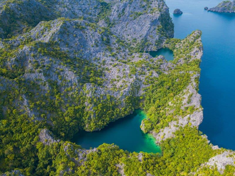 Vista aerea dell'isola del pettine dei galli immagine stock