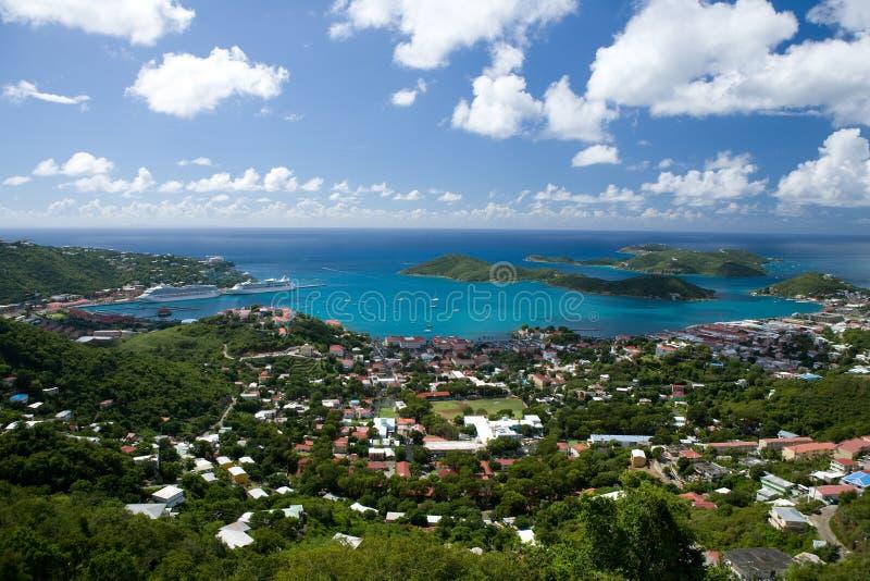 Vista aerea dell'isola della st Thomas, USVI. fotografia stock