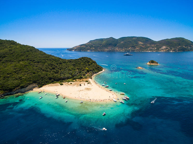 Vista aerea dell'isola di Marathonisi nell'isola di Zacinto Zante, i fotografia stock