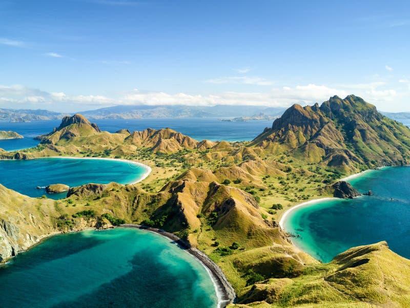 Vista aerea dell'isola di Pulau Padar immagini stock libere da diritti