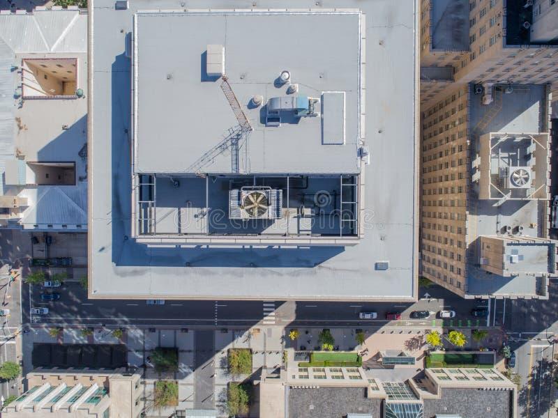 Vista aerea dell'occhio del ` s dell'uccello del fuco della città di Raleigh, NC immagini stock