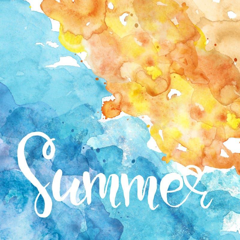 Vista aerea dell'oceano e della spiaggia Mano che segna citazione con lettere circa estate Insegna dipinta a mano dell'oceano del illustrazione vettoriale