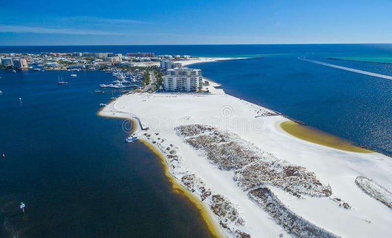 Vista aerea dell'orizzonte di Destin e della spiaggia, Florida nell'inverno immagine stock