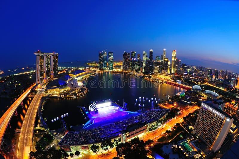 Vista aerea della baia del porticciolo di Singapore fotografia stock libera da diritti