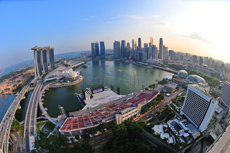 Vista aerea della baia del porticciolo di Singapore fotografia stock