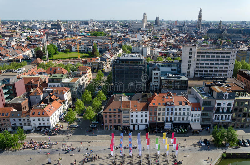 Vista aerea della città di Anversa immagini stock