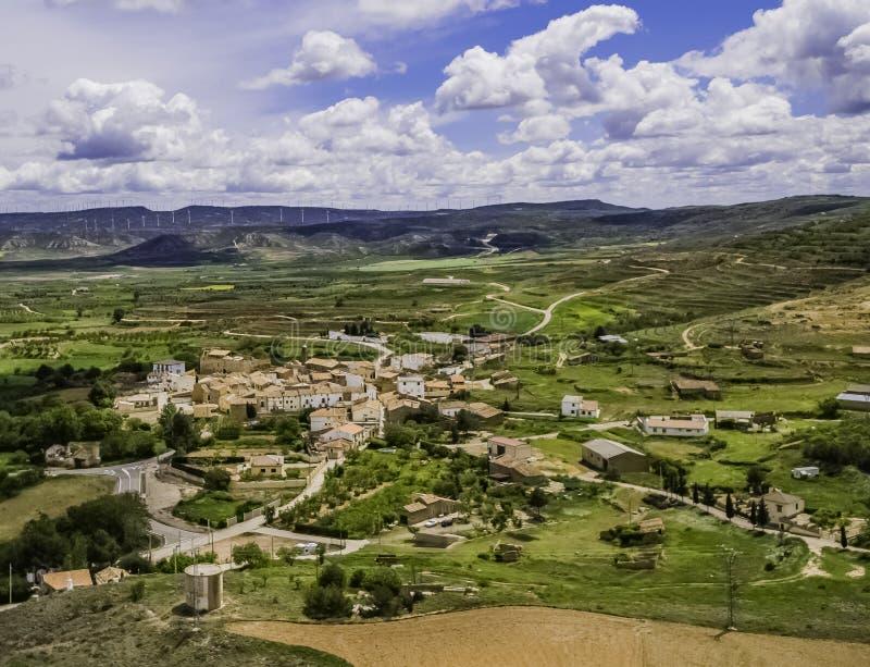 Vista aerea della città di grisel a Saragozza fotografia stock