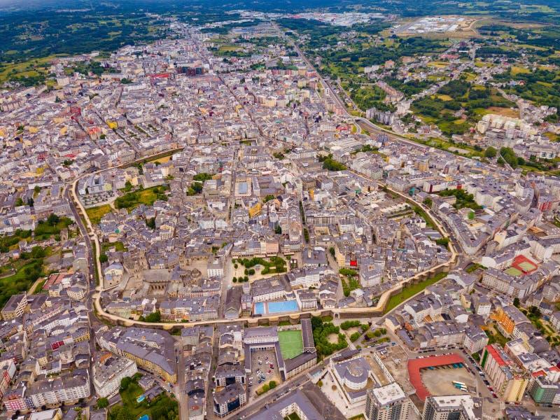 Vista aerea della città di Lugo. La Galizia. spain immagine stock