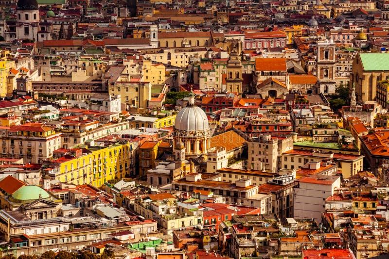 Vista aerea della città di Napoli fotografia stock libera da diritti