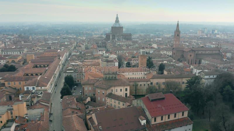 Vista aerea della città di Pavia, Italia fotografia stock