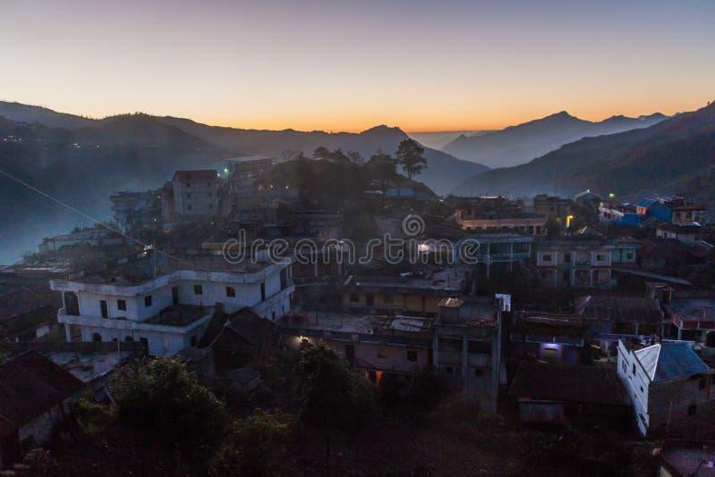Vista aerea della città di San Mateo Ixtatan, Guatema fotografie stock libere da diritti