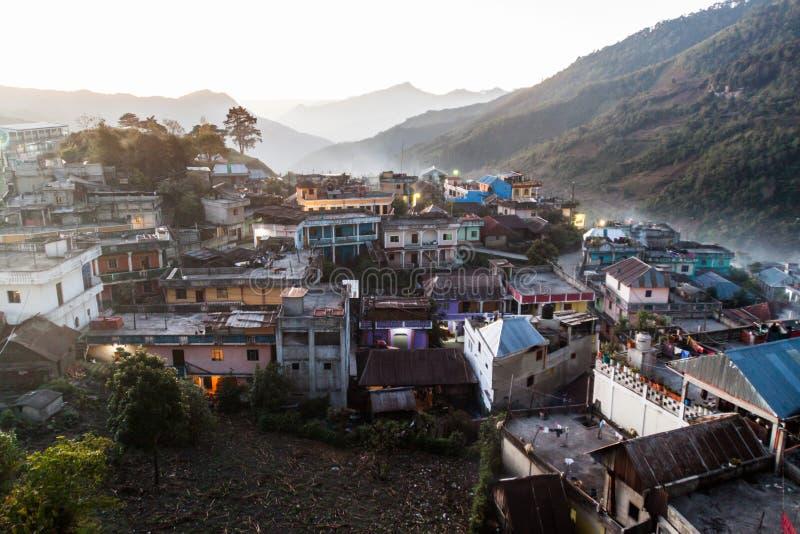 Vista aerea della città di San Mateo Ixtatan, Guatema fotografie stock