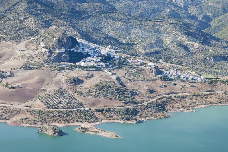 Vista aerea della città di Zahara. immagini stock libere da diritti