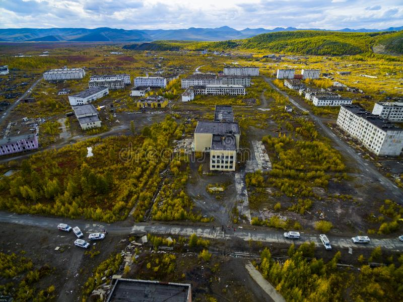 Vista aerea della città fantasma Kadykchan, Kolyma, regione di Magadan immagini stock libere da diritti