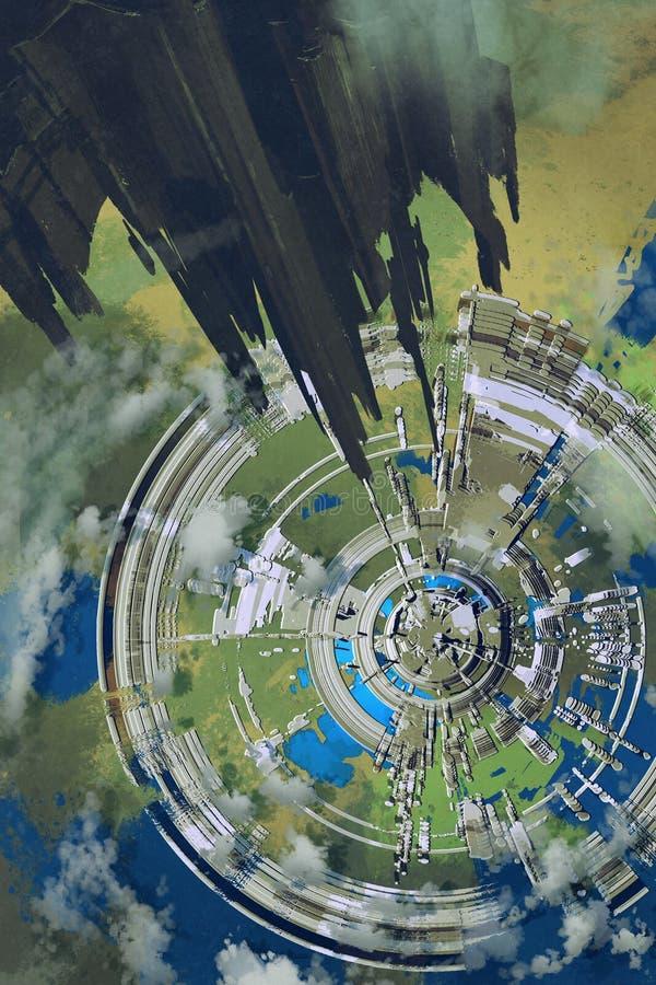 Vista aerea della città futuristica, illustrazione illustrazione vettoriale