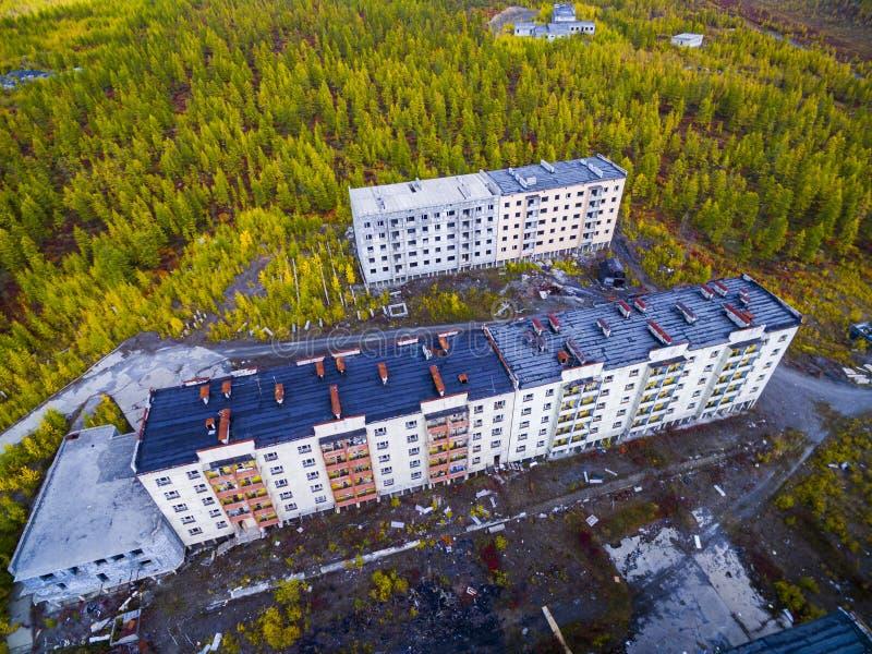 Vista aerea della citt? fantasma Kadykchan, Kolyma, regione di Magadan fotografia stock libera da diritti