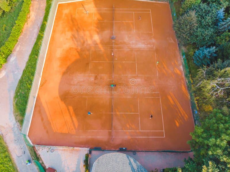 Vista aerea della corte di tennis Attivit? di sport fotografia stock libera da diritti