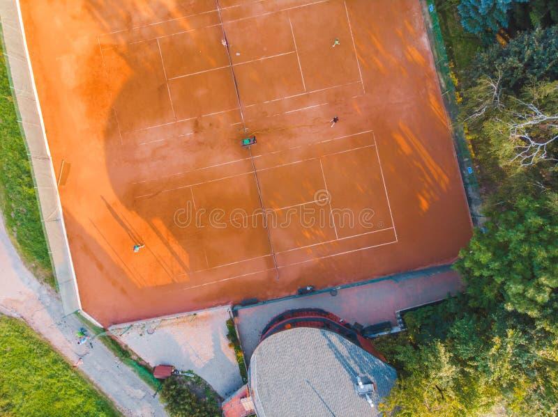 Vista aerea della corte di tennis Attivit? di sport immagini stock libere da diritti