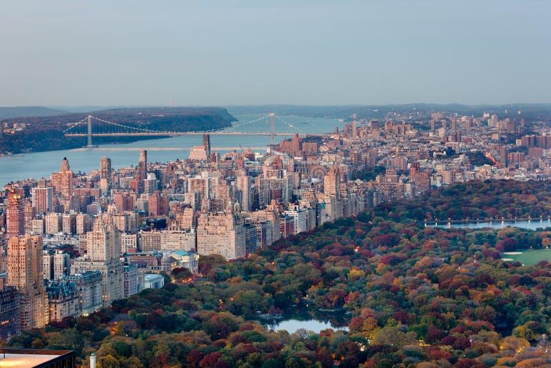 Vista aerea della costa Ovest superiore e del Central Park nella caduta, NYC fotografia stock libera da diritti