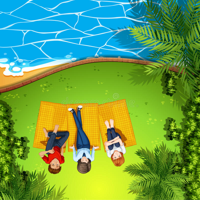 Vista aerea della gente alla spiaggia illustrazione di stock