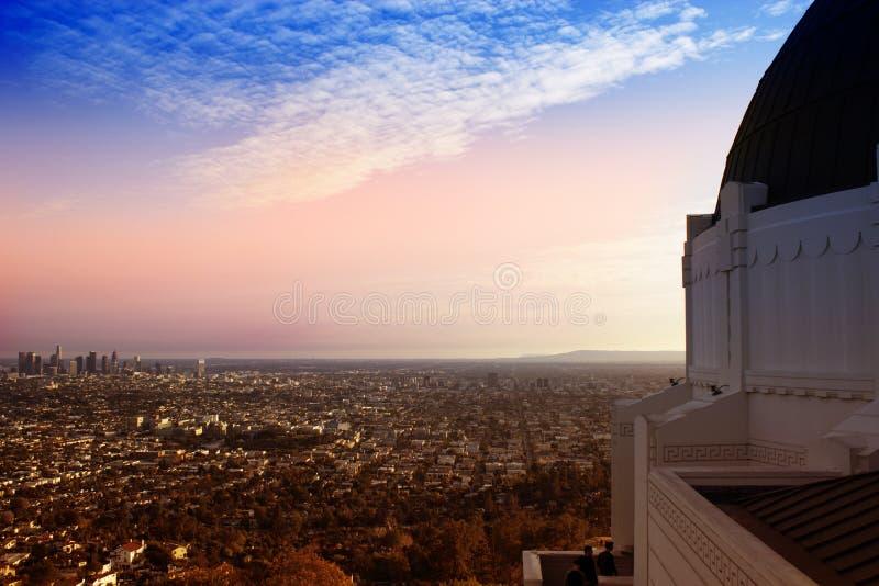 Vista aerea della LA dall'osservatorio immagine stock libera da diritti