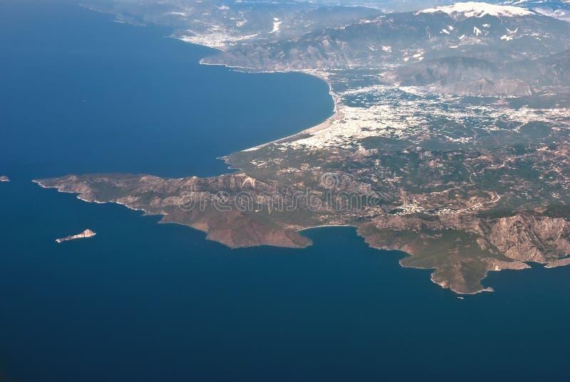 Vista aerea della linea costiera dell'egitto fotografia stock