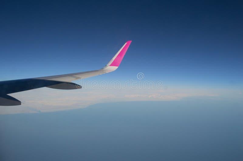 Vista aerea della linea costiera dell'Islanda con l'ala dell'aereo in volo immagine stock libera da diritti