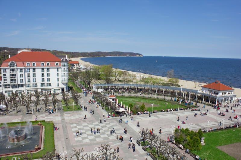 Vista aerea della località di soggiorno di stazione termale famosa alla spiaggia, Sopot, Polonia fotografie stock libere da diritti