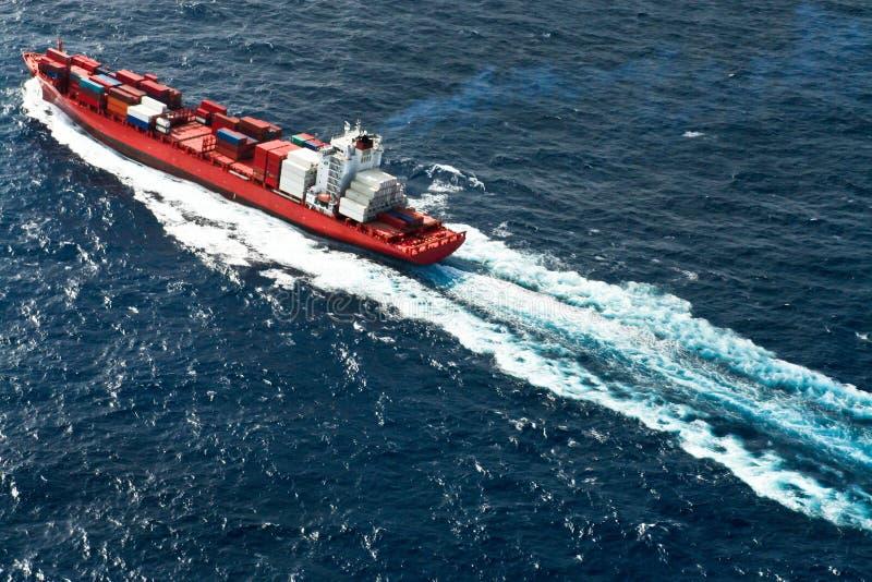 Vista aerea della nave porta-container fotografia stock