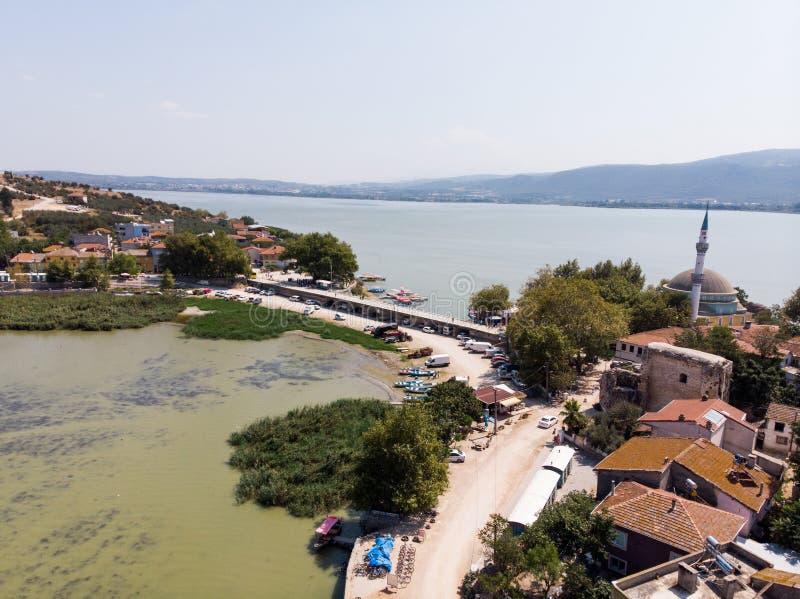 Vista aerea della penisola di Golyazi a Bursa/Turchia fotografia stock libera da diritti
