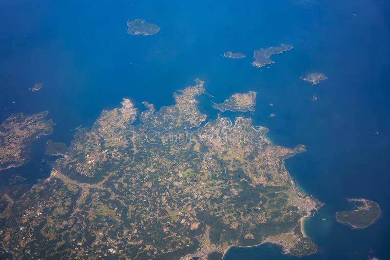 Vista aerea della prefettura di saga con l'isola di Kashiwa fotografia stock