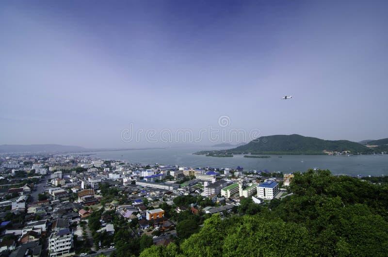 Vista aerea della provincia di Songkhla, Tailandia fotografia stock libera da diritti