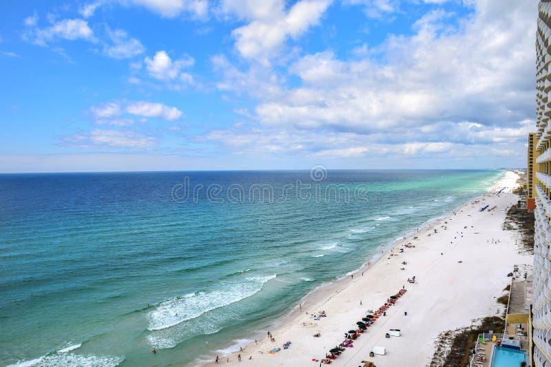 Vista aerea della spiaggia del fuco della spiaggia di Panamá, Florida, U.S.A. fotografie stock libere da diritti