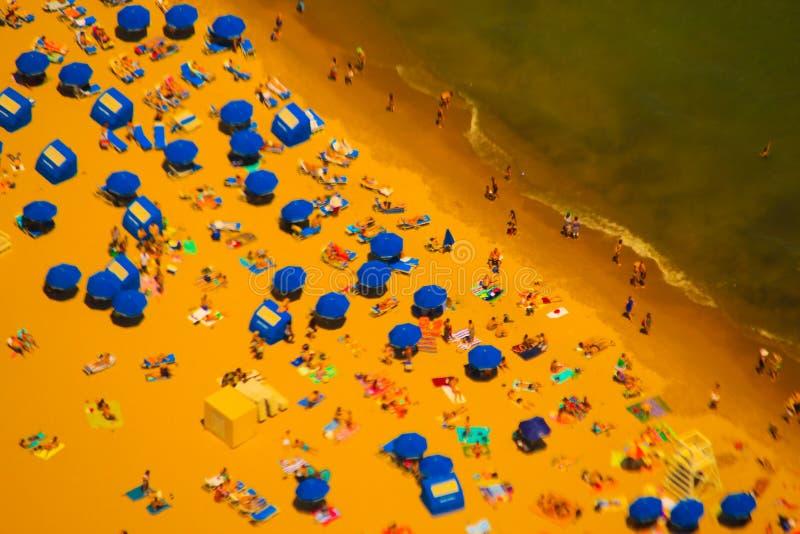 Vista aerea della spiaggia di Chicago fotografie stock libere da diritti