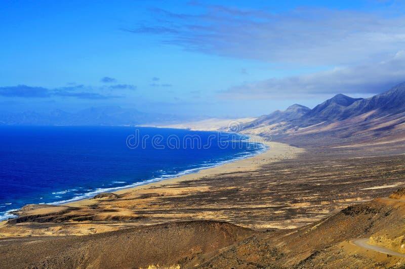 Vista aerea della spiaggia di Cofete a Fuerteventura fotografia stock