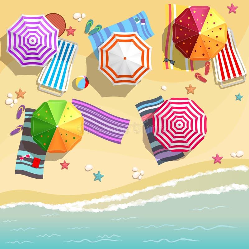 Vista aerea della spiaggia di estate nello stile piano di progettazione royalty illustrazione gratis