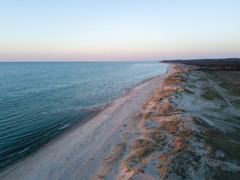Vista aerea della spiaggia di Melby, Danimarca fotografia stock libera da diritti