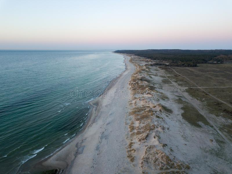 Vista aerea della spiaggia di Melby, Danimarca immagini stock libere da diritti