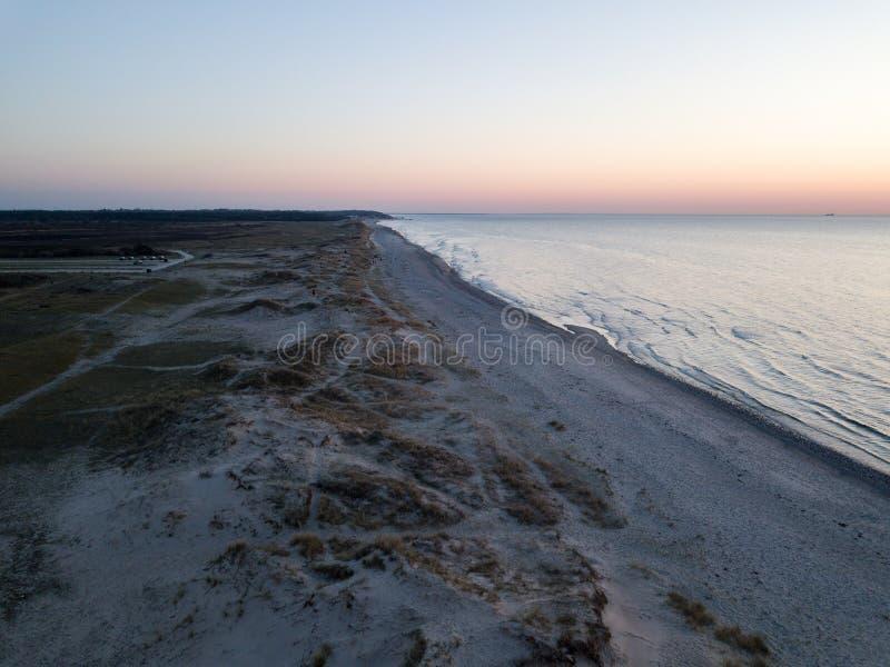 Vista aerea della spiaggia di Melby, Danimarca immagine stock