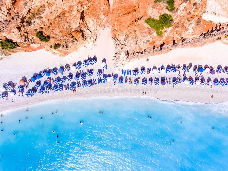 Vista aerea della spiaggia di Oporto Katsiki a Leucade, Grecia nella somma immagine stock libera da diritti