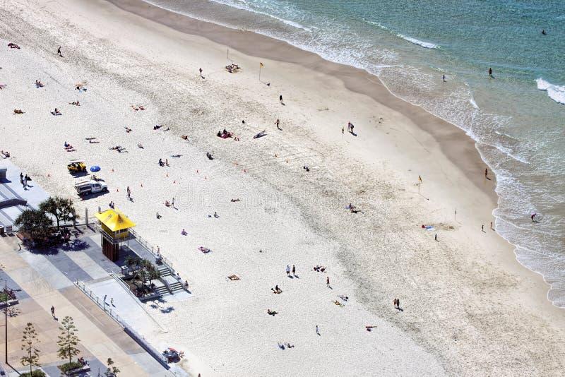 Vista aerea della spiaggia di paradiso dei surfisti, la Gold Coast immagine stock