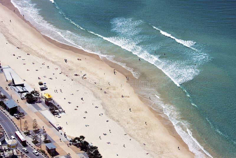 Vista aerea della spiaggia di paradiso dei surfisti, la Gold Coast fotografia stock